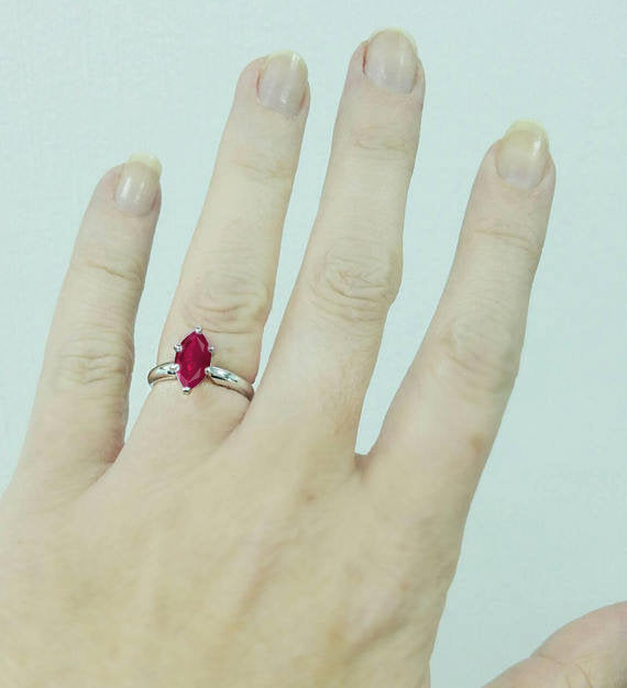 Classic Ruby Marquise Engagement Ring