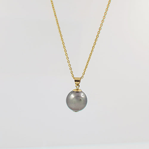 14K Gold Silver Grey Single Pearl Necklace