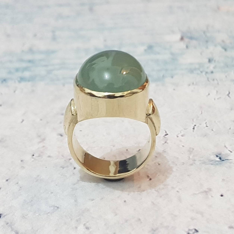 Milky Cabochon Aquamarine Ring - Gift for Her