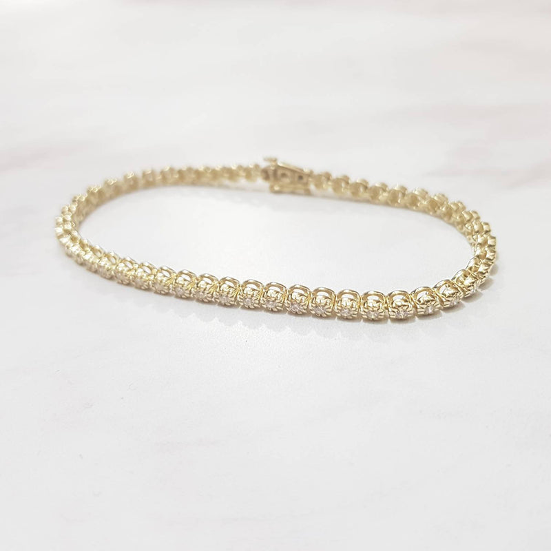Bezel Set Diamond Tennis Bracelet Yellow Gold