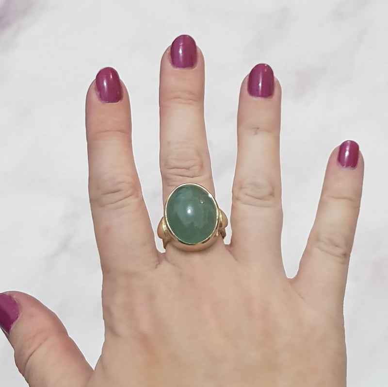 Milky Cabochon Aquamarine Ring - Green Gemstone Ring