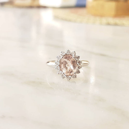 Oval Peach Morganite and Diamond Engagement Ring