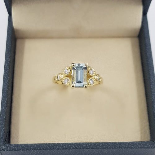 Aquamarine Emerald Cut Engagement Ring