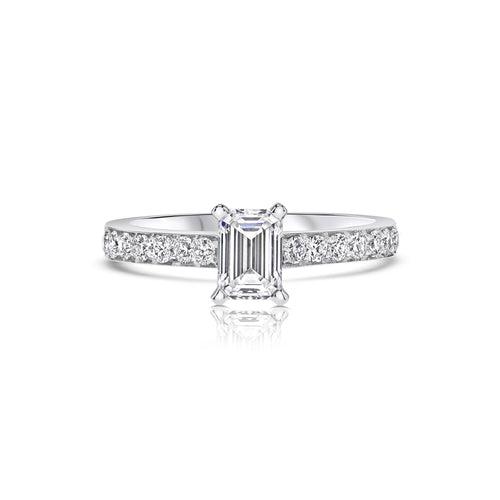 Emerald Cut Pavé Band Engagement Ring