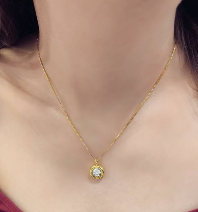 Cubic Zircon Dangling Necklace - Gold Filled Solitaire Pendant Necklace