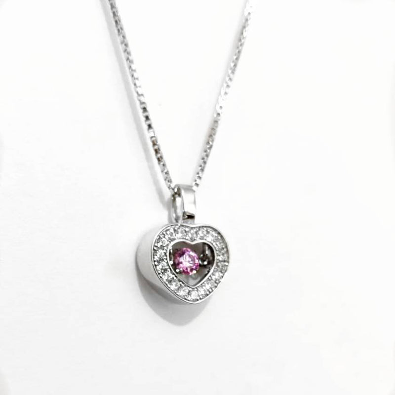Dangling Halo Heart Necklace - Pink CZ Sterling Silver Necklace