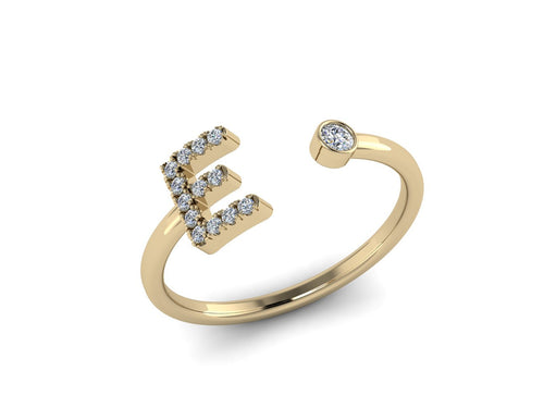 Diamond Initials Cuff Ring - Statement Stack Rings