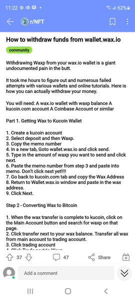 Instructions on how to withdraw funds from Wax