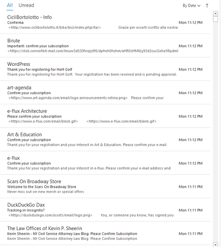 A glimpse of the hundreds of emails i received