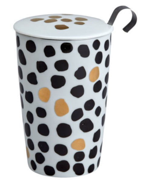 Teaeve Black & White Porcelain Cup (with stainless steel infuser) - 2 varieties available