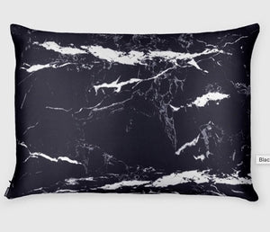 Shhh Silk - Black Marble Silk Pillowcase - Queen Size - Zippered