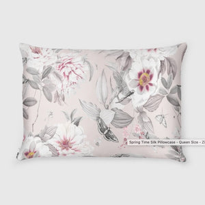 Shhh Silk - Limited Edition Spring Time Silk Pillowcase - Queen Size - Zippered