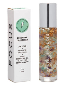 Essential Oil Crystal Rollers - Focus (10ml)