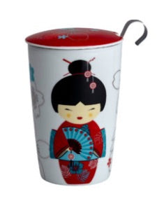 Teaeve Porcelain Cup (with stainless steel infuser) - Little Geisha red