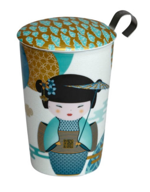 Teaeve Porcelain Cup (with stainless steel infuser) - Little Geisha petrol