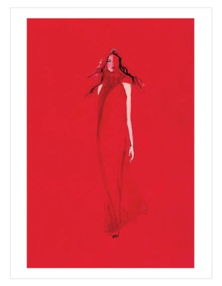 Greeting Card - Lady In Red