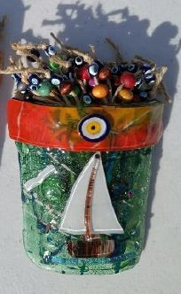 Artisan Hand Blown Glass - Ocean Sail Pot
