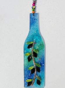 Artisan Hand Blown Glass - Bottle Shape Olive Branch Blue/Green