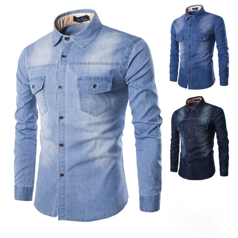 Mens Sexy Casual Long-Sleeved Denim Shirt