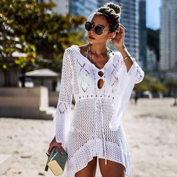 V-neck Long-sleeve Hollow High-low Hemline Solid Color Bikini Cover-ups