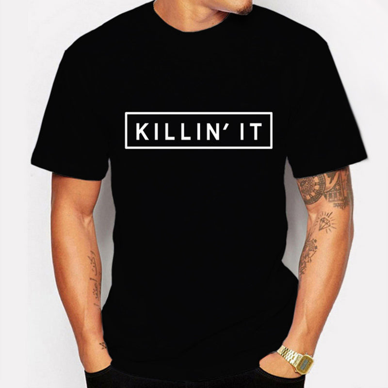 "Man's Hot Black Fashion Success ""Killin It"" Printed Casual T-shirt"