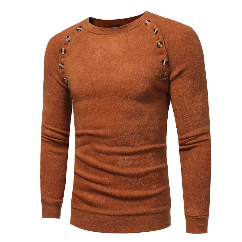 Long Sleeves Mens Button Design Round Neck Knit Sweater