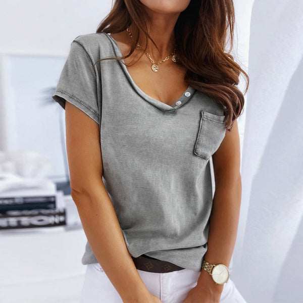 Fashion Solid Color V-neck Button Loose Short Sleeve T-shirt