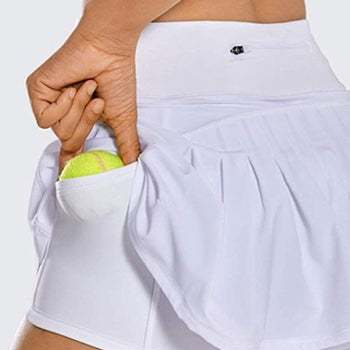 Skirt Shorts! Womens Mid-waist pleated back skirt with Pocket Zipper Sports Culottes