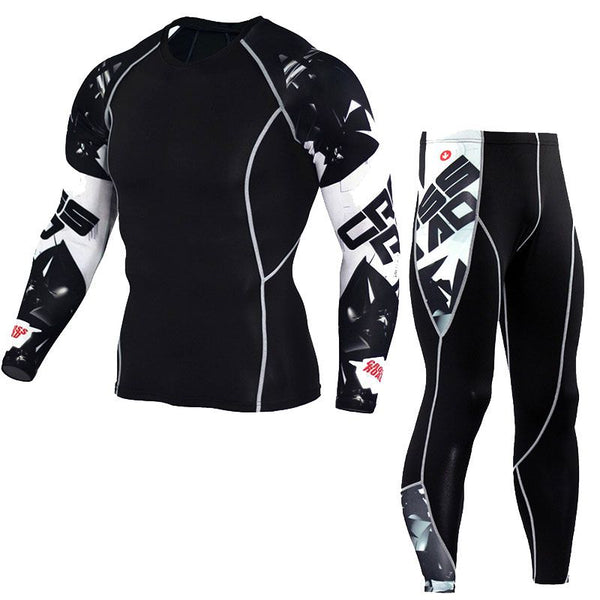 Men's Fitness wear - Long Sleeve shirt and matching Pants Workout Set