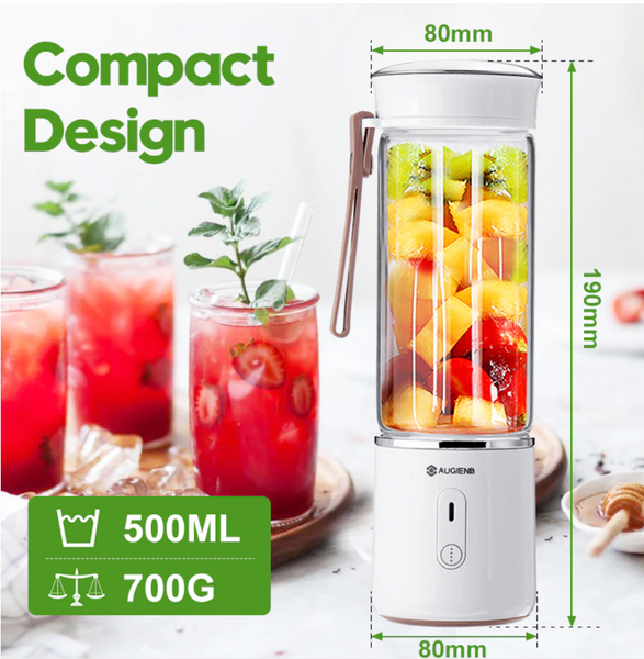 AUGIENB Electric mini Portable Fruit Juicer Smoothie Blender Mixer; USB Rechargeable for Home, Work, Travel