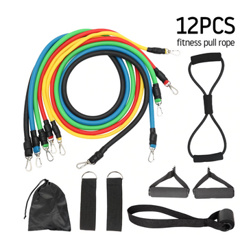 12Pcs/Set Sport Resistance Exercise Bands Pull Rope Set w/Expander for Yoga Fitness Stretching Training Home Gym Workout