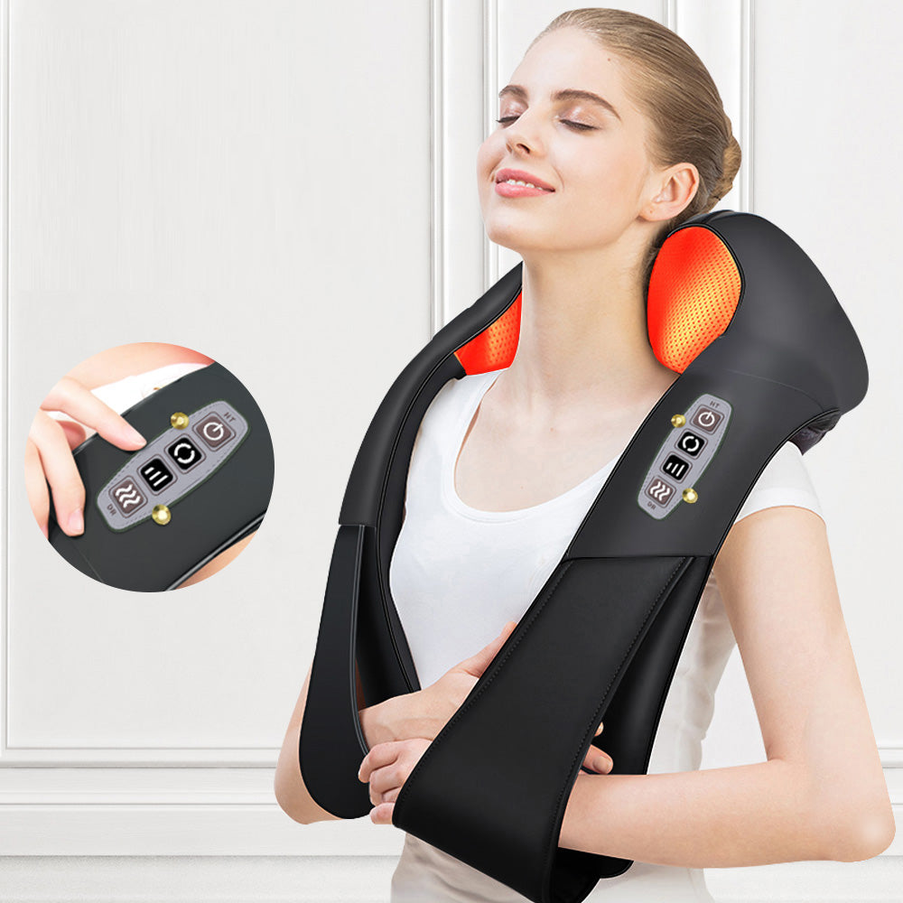 Heated Back and Neck Shoulder Massager; Electric Shiatsu Massager for Home, Office or Car