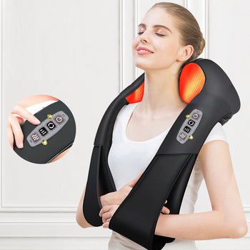 Heated Back, Neck & Shoulder Massager; Deluxe 6-Button Electric Shiatsu Massager for Home, Office or Car