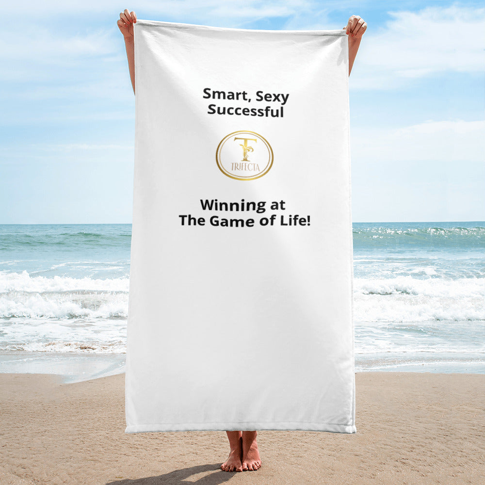Large Trifecta! White Logo Swimming, Bath or Beach Towel - Poly 30 x 60