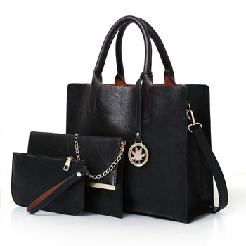 3PCS Women's Fashion Bag Set PU Leather Handbag Solid Colors Shoulder Bag with Wallet for Women