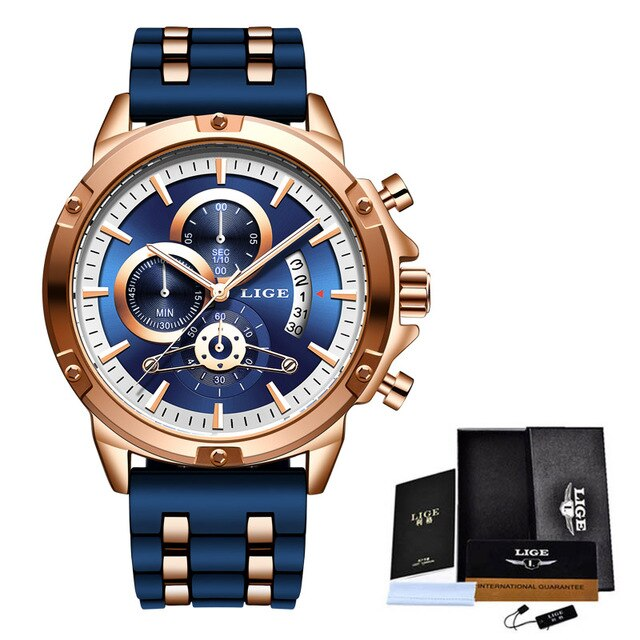 Mens Luxury brand Sports Quarts Relogio LIGE Fashion Wrist Watch Silicone Waterproof