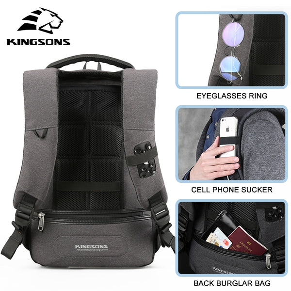 Anti-Theft Business Backpack with 15-inch Computer section, USB Phone Charger, Travel Overnight Bag
