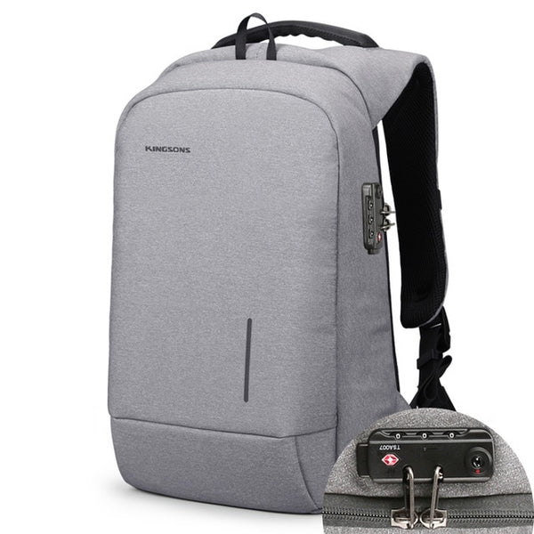 Anti-theft Business 15 in. Computer Backpack USB Phone Charger Travel Bag