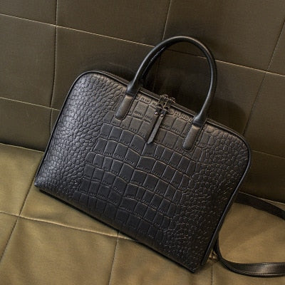 Executive Lady Alligator Print Leather type Shoulder Laptop Bag, Briefcase or Carryall for 13-16 in. Laptop Computer