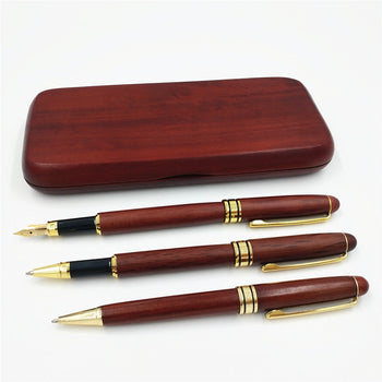 3 Pieces Executive Pen Set in Gift Box; 1 Fountain Pen, 1 Signing Pen, 1 Ballpoint Pen