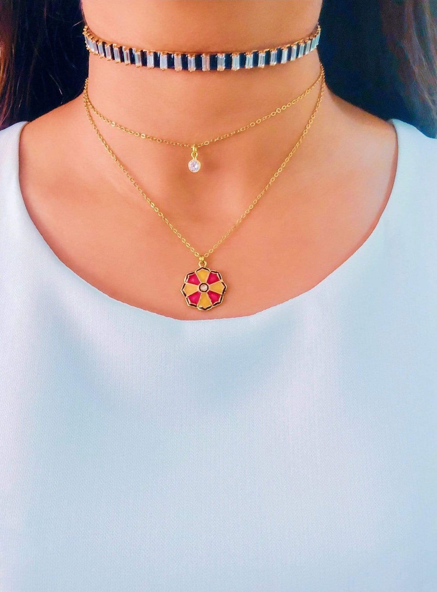 Fleur Orange Necklace - Charm