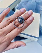Gunmetal Ball & Hoop Ring Rings; Sale