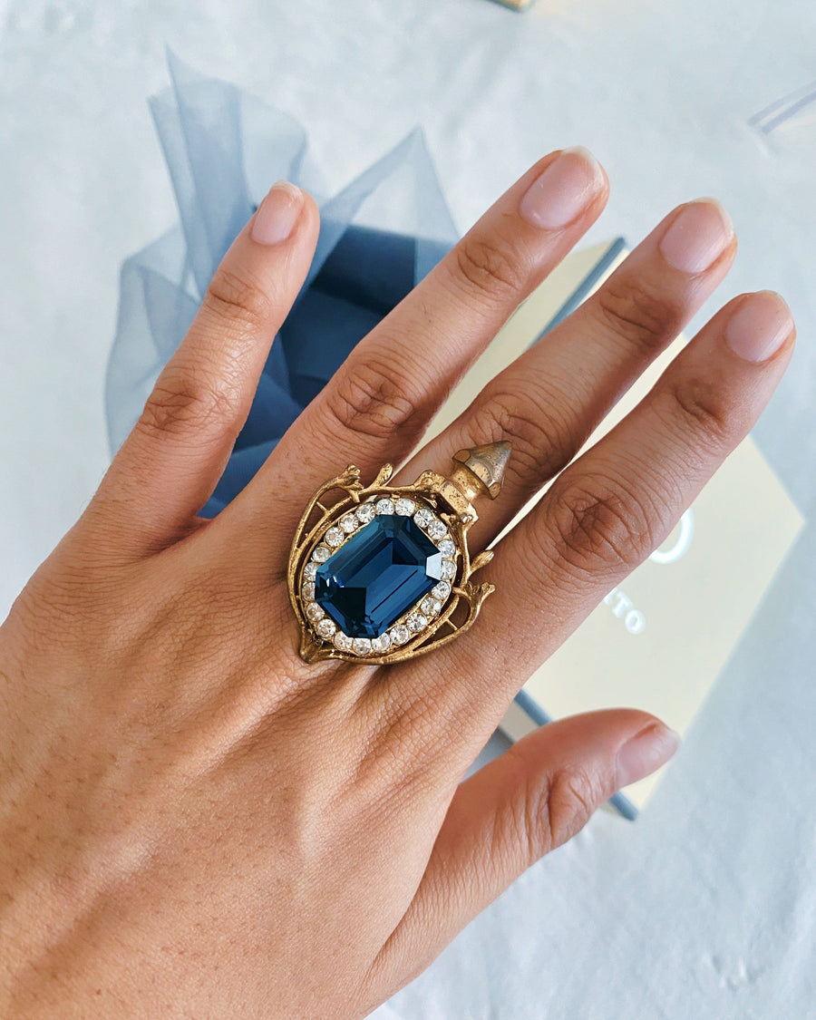 Midnight blue button Ring