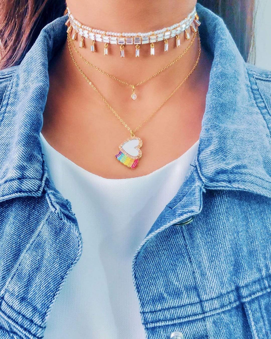 Over The Rainbow Heart Necklace - Charm