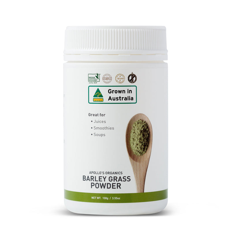 Certified Organic Barley Grass Powder 100g by Apollo's Organics