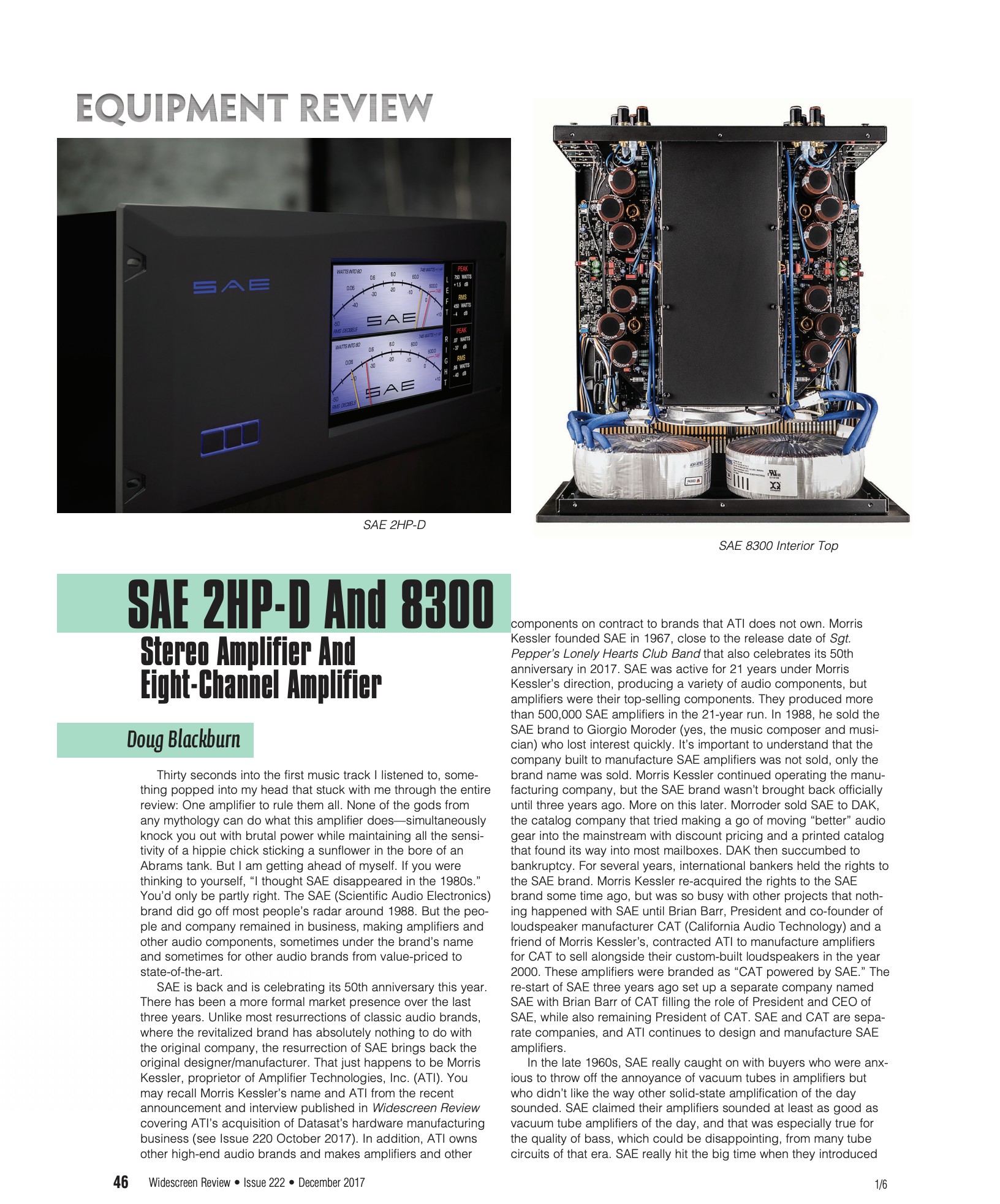 Widescreen Review: SAE 2HP-D and 8300 Amplifiers
