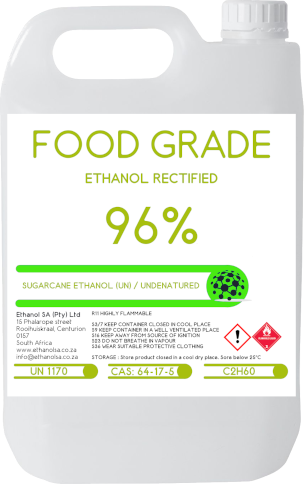 96% sugarcane ethanol, Rectified / (UN) Undenatured - Food grade Ethanol
