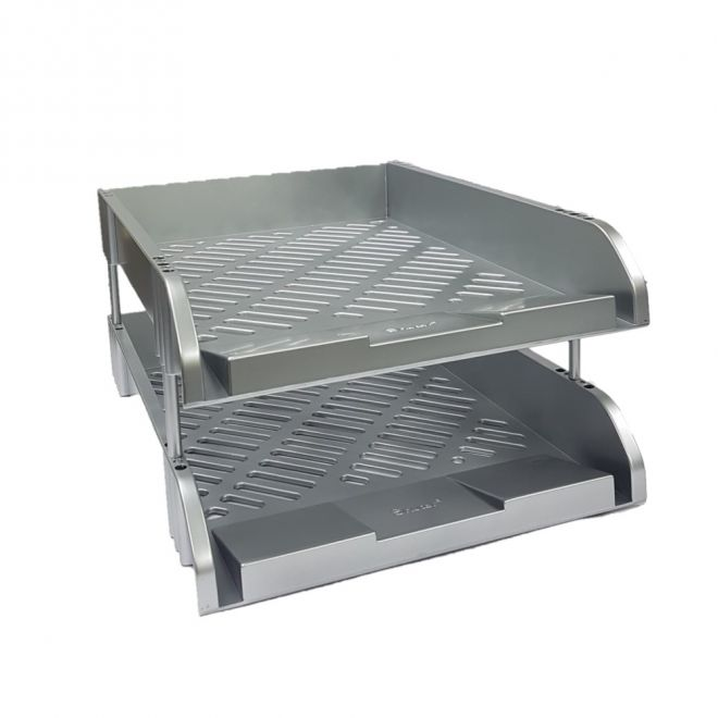 Perfekt N812Y Document Tray A4 Size 2 Tier Silver