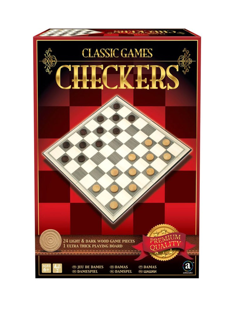 Classic Wood Checkers 36centimeter