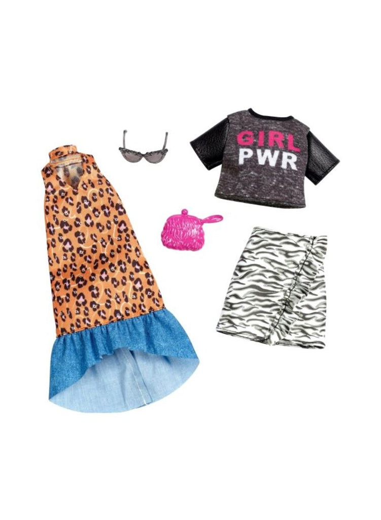 Animal Printed Denim Ruffle Fashion Doll Outfit Accessories Set FXJ65